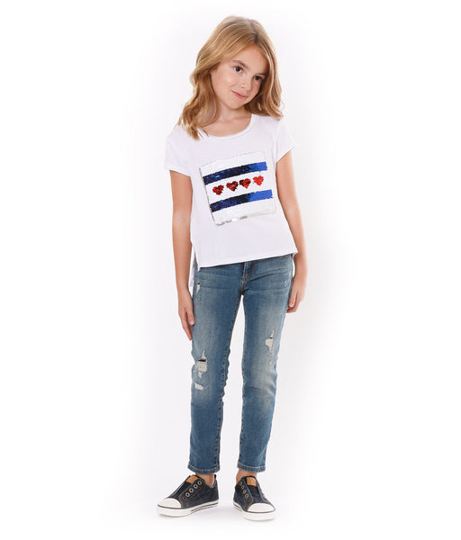 PIPER Flip Sequin Heart and Flag Tee - Fashion X Faith