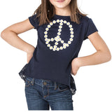 SHELBY Daisy Peace Top - Fashion X Faith - NAVY TOP FOR GIRLS AND TWEENS