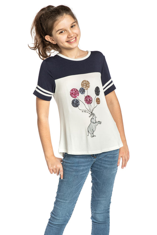 Cute top for girls - top for tweens -elephant top