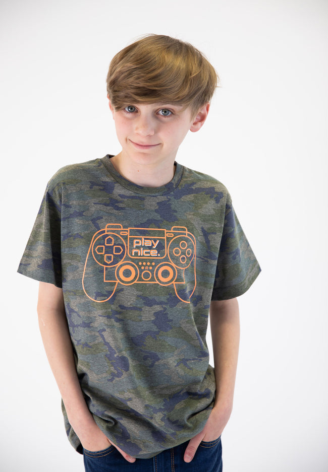 "MATTHEW ""Play Nice"" Camo Graphic Tee - Fashion X Faith"