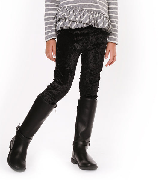 KELLY Black Crushed Velour Legging
