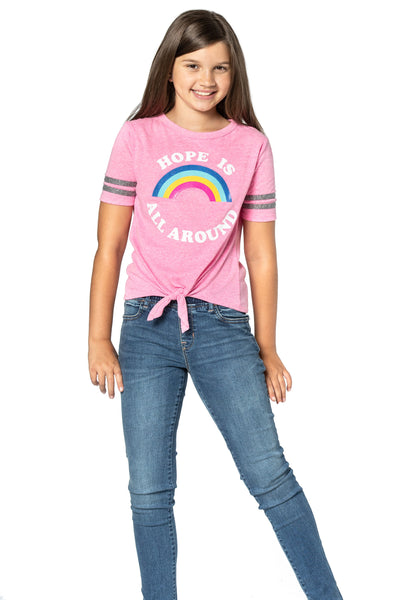 Short sleeve front tie rainbow top for girls and Tweens