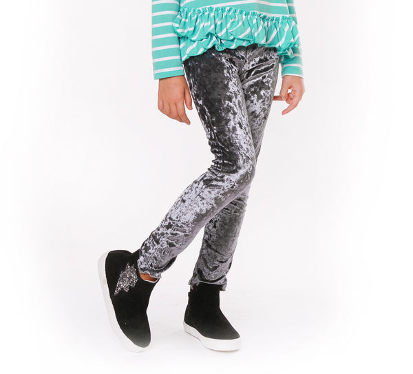 KELLY Grey Crushed Velour Legging - Fashion X Faith