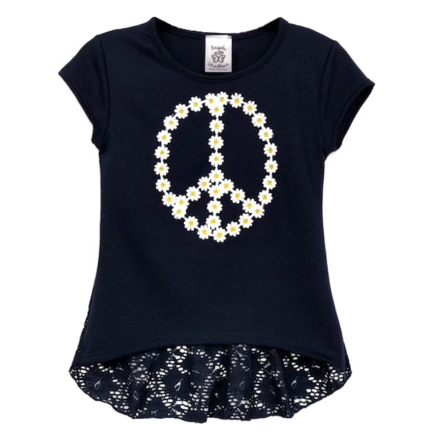 Cute tops for girls with daisy trim peace sign