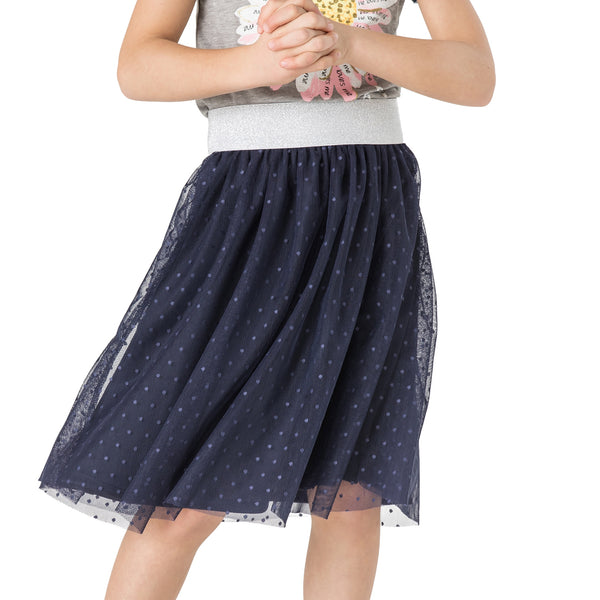 TILLIE Navy Dotted Mesh Skirt - Fashion X Faith - Skirt for girls