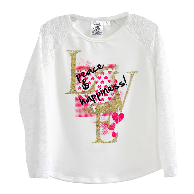 Christian shirt for girls with lace sleeves
