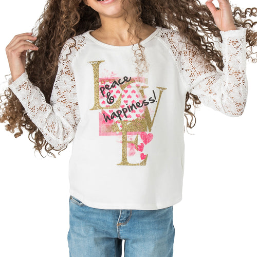 "ALLISON ""Love, Peace, & Happiness"" Lace Sleeve Top"