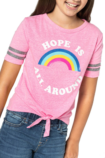 Rainbow pink top for girls and Tweens