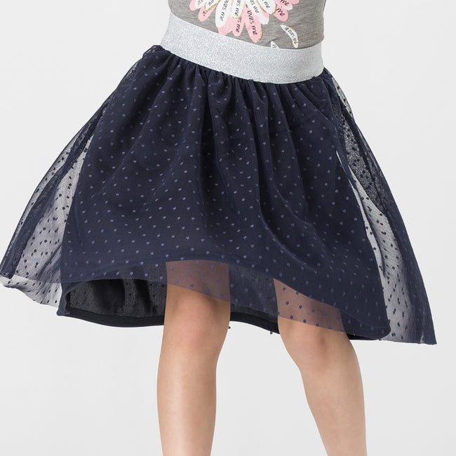Navy polka dot mesh skirt