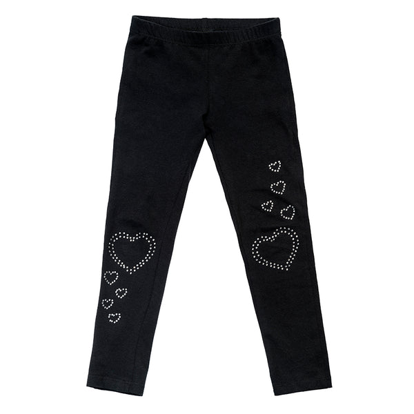 Rhinestone heart leggings for girls