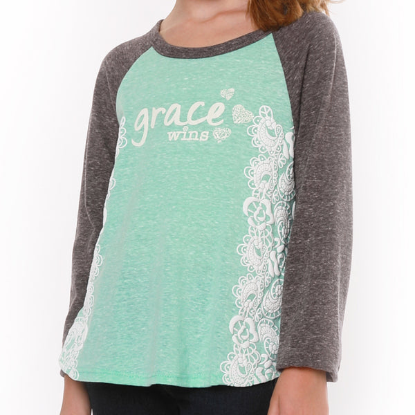 "JANE ""Grace Wins"" baseball tee - Fashion X Faith"