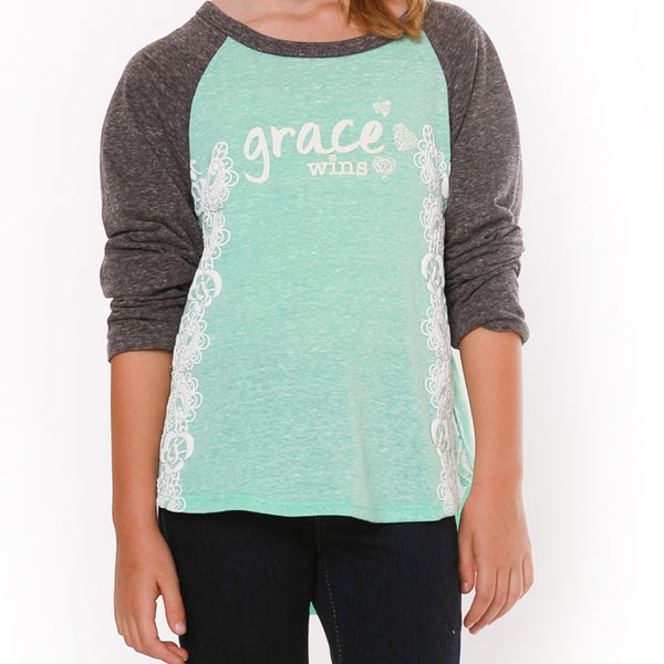 "JANE ""Grace Wins"" baseball tee - Fashion X Faith - Cute top for girls"