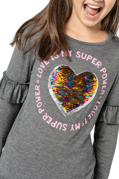MARIANNE Flip Sequin / Love Is My Superpower - Fashion X Faith -Top for tweens