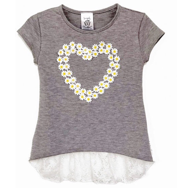 Cute top for girls with daisy trim