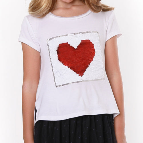 PIPER Flip Sequin Heart and Flag tee