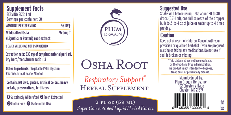 Wildcrafted Osha Root Liquid Extract, 2 oz.