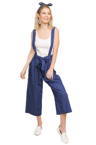 Wide Leg Denim Overalls With Waist Tie