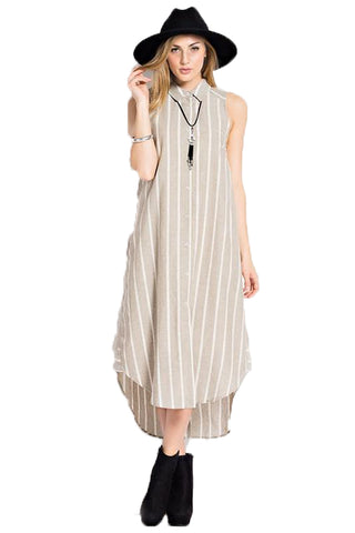 Stripe Button Down Sleeveless Maxi Dress