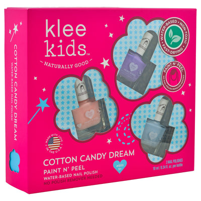 Cotton Candy Dream - Klee Kids Water-Based Nail Polish 3-Piece Set