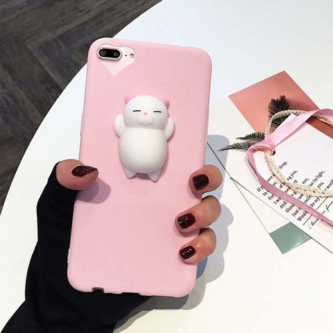 Squishy Cat Pink iPhone Case with Heart