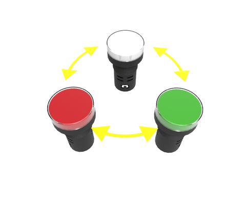 2 color led indicator lamp turns red or green