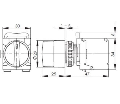 Drawing for 22mm selector switch