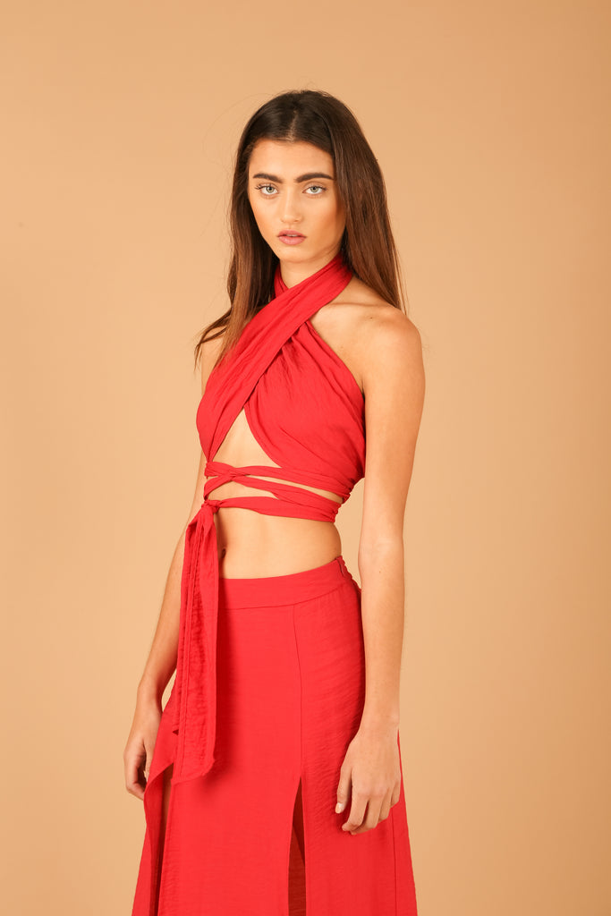 MOJAVÏ Wrap Top in Desert Red
