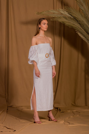 saint-mojavi - Jaipur Off the Shoulder Eyelet Dress - SAÏNT MOJAVÏ -
