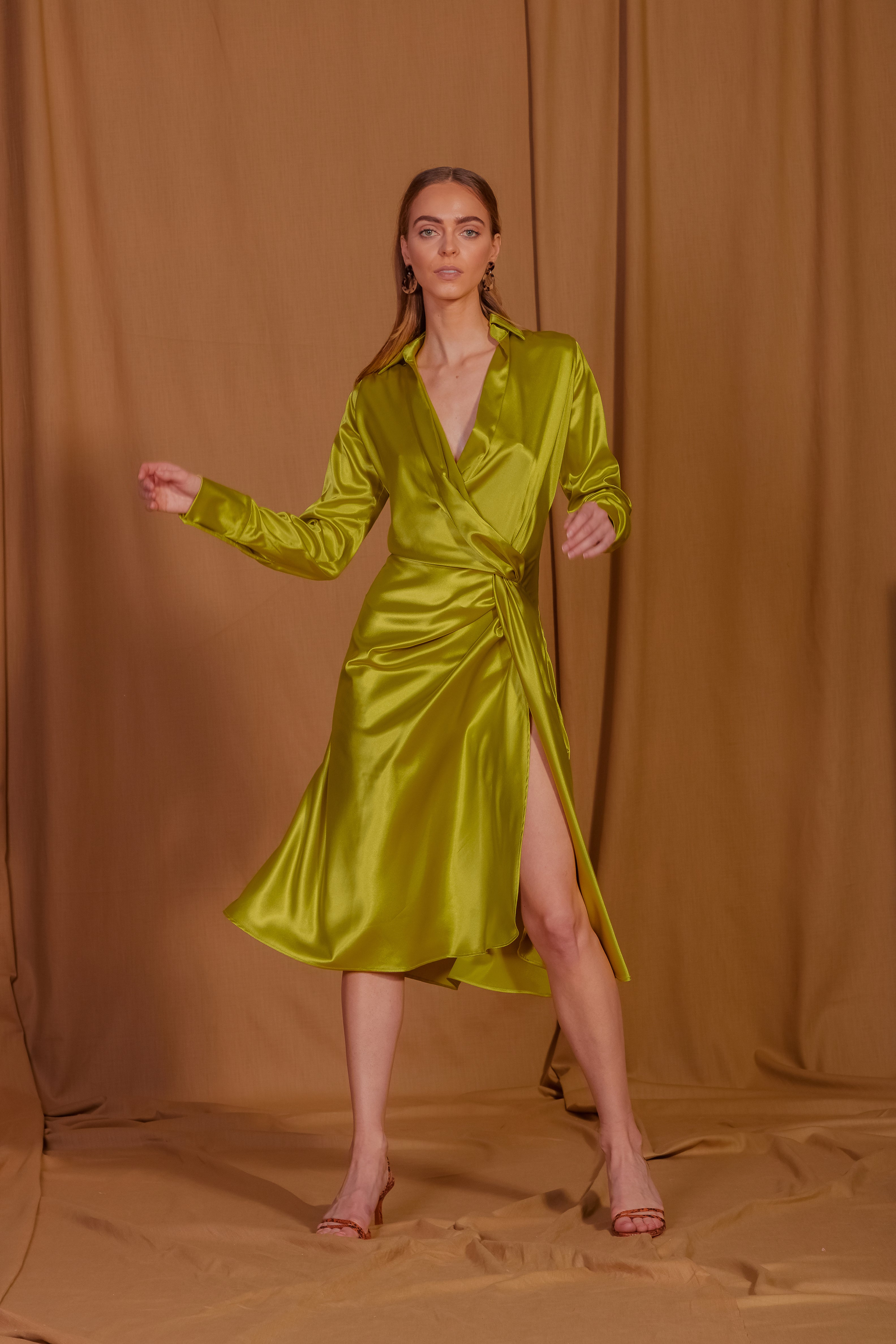 saint-mojavi - Maharaja Silk Charmeuse Wrap Dress - SAÏNT MOJAVÏ -