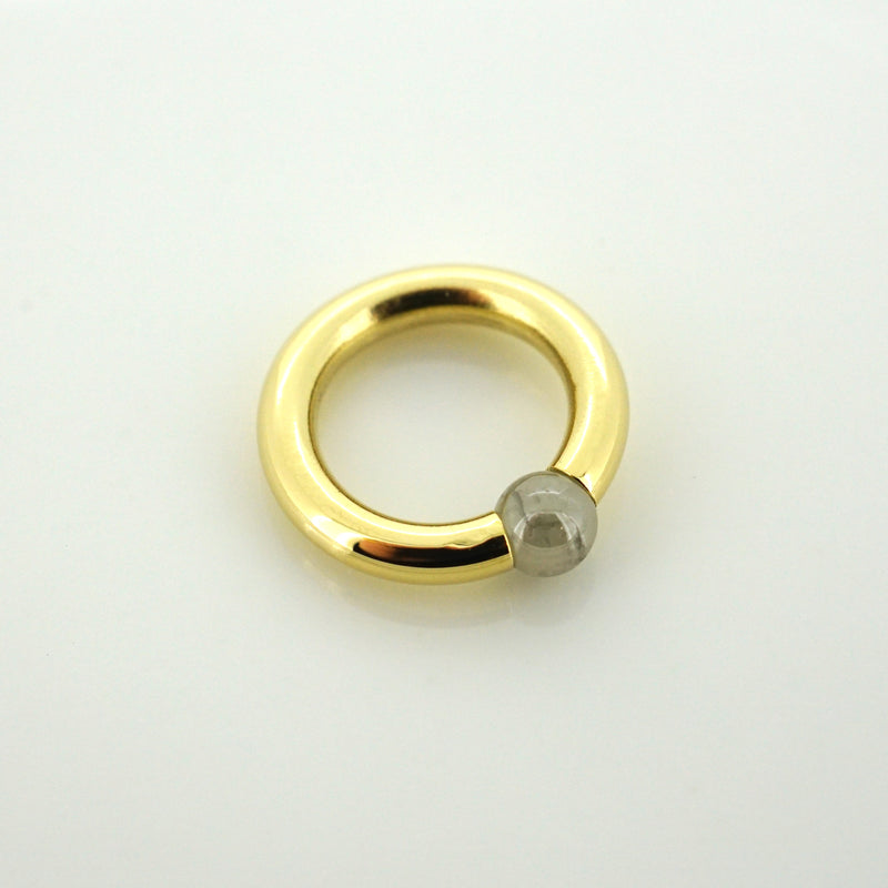 Diamond Pearl Captive Bead Ring - 18k Yellow Gold