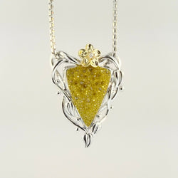 Golden Flower Triangle Pendant