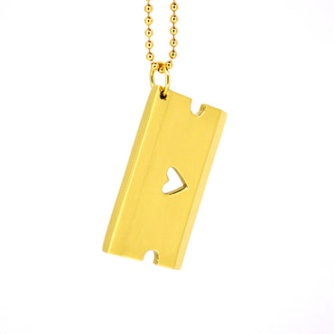 Heart Razor Pendant - Solid Gold