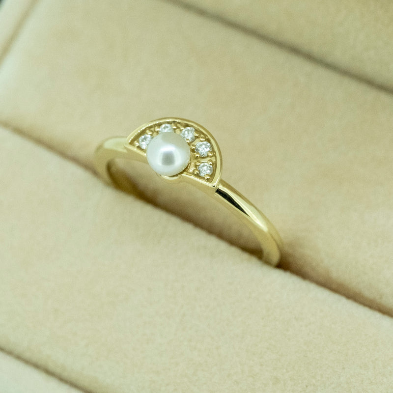 Pearl Diamond Fan Ring