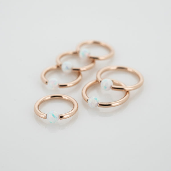 18k Rose Gold Captive Bead Ring