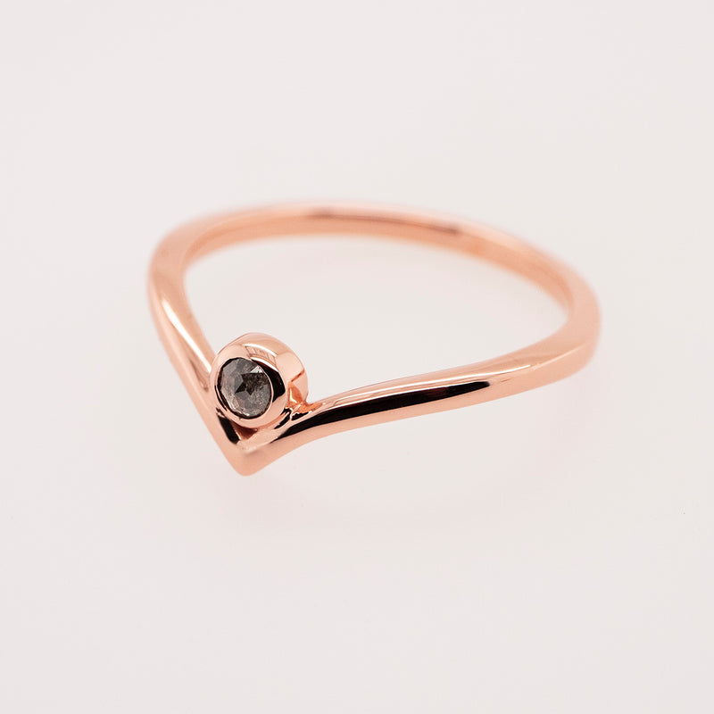 "Solitaire Grey Diamond ""V"" Ring"