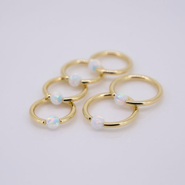 18k Yellow Gold Captive Bead Ring