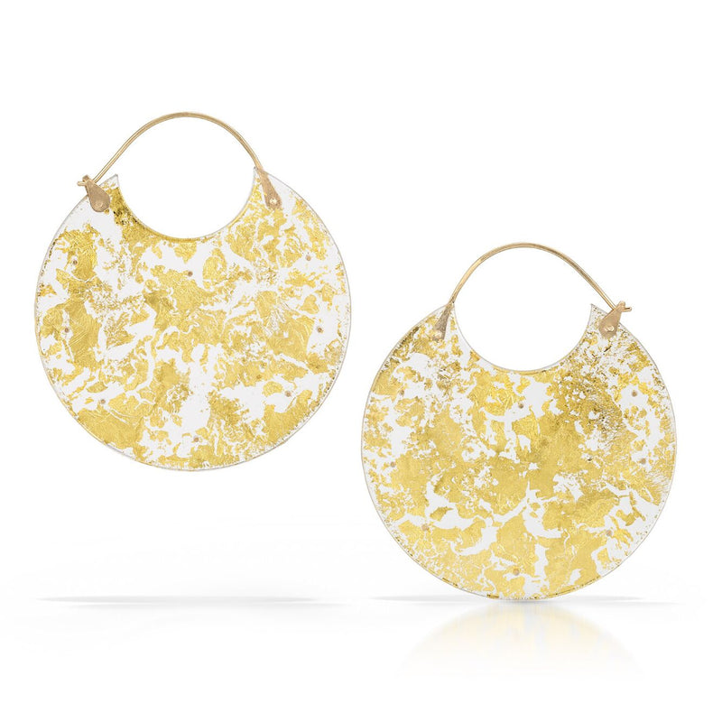 Gold Leaf Encasement Earrings