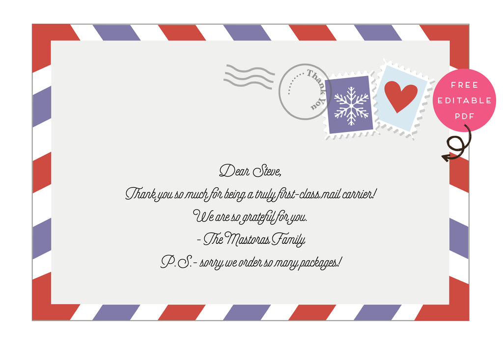 Mail Carrier Thank You Card!