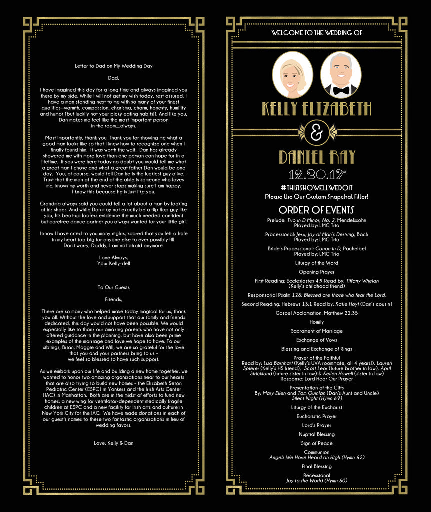 great gatsby portrait wedding program design