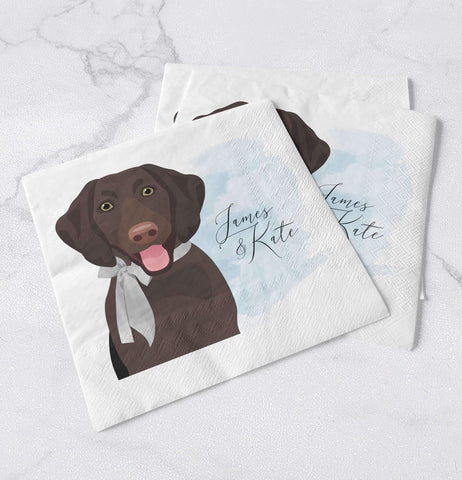 Miss Design Berry 100 Pet Portrait Wedding Napkins - Watercolor Style