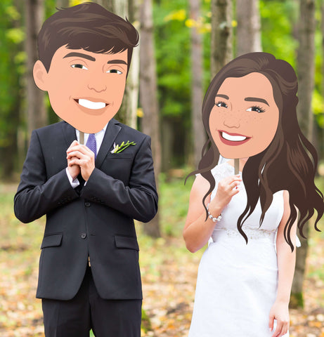 Illustrated Wedding Big Head Portrait Photo Prop