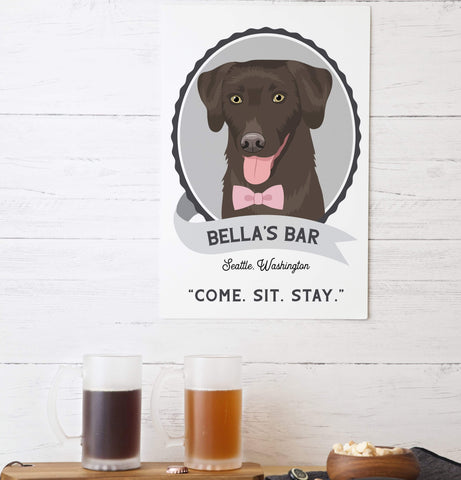 Aluminum Bar Sign with Pet Portrait Miss Design Berry