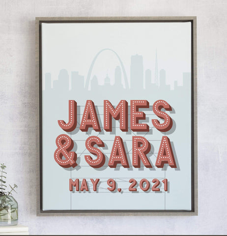 Skyline Marquee Name Wedding Gift Art - First Anniversary Gift Miss Design Berry
