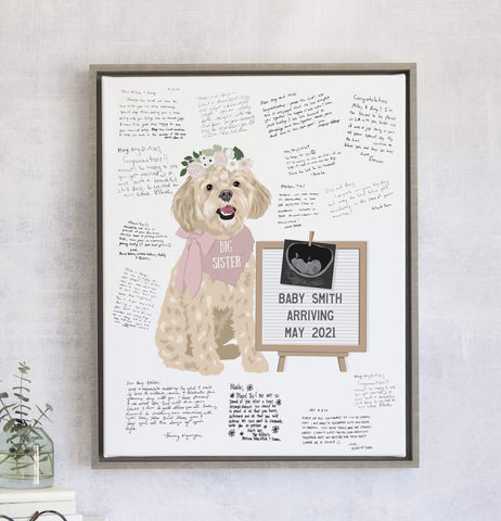 Baby Shower Guest Book Alternative with Letterboard Pet Announcement Miss Design Berry