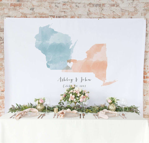 Miss Design Berry Backdrop Watercolor Backdrop Curtain - State Love