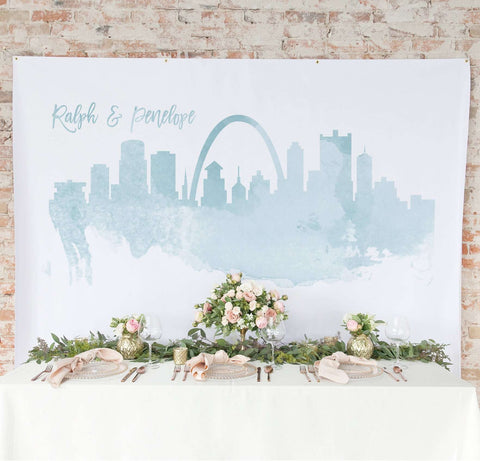 Miss Design Berry Backdrop Watercolor Skyline Backdrop Curtain