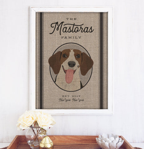 Miss Design Berry Burlap Farmhouse Family Sign with Grain Sack Style Pet Portrait