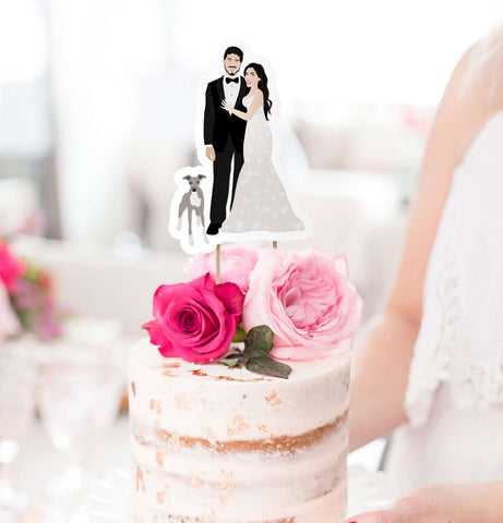 Miss Design Berry cake topper Digital - Portrait Wedding Cake Topper