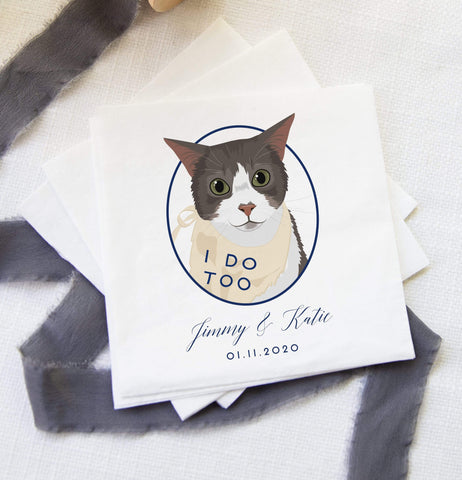 Miss Design Berry Cat of Honor Wedding Cocktail Napkins