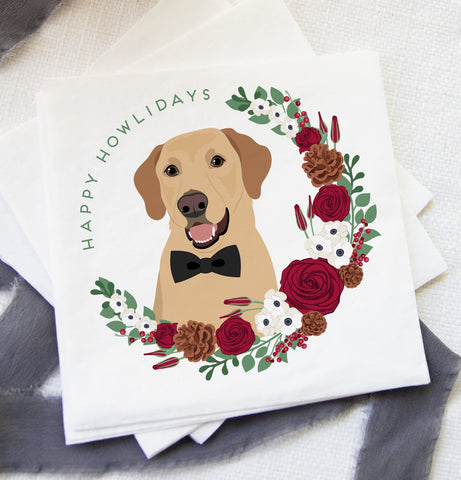 Miss Design Berry Christmas Dog Cocktail Napkins - Happy Howlidays